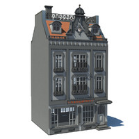 building european townhouse 3d obj