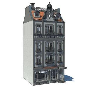 building european townhouse 3d model