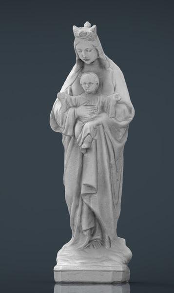 3d model virgin mary baby jesus