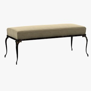 bench bronze ornamental legs 3d 3ds