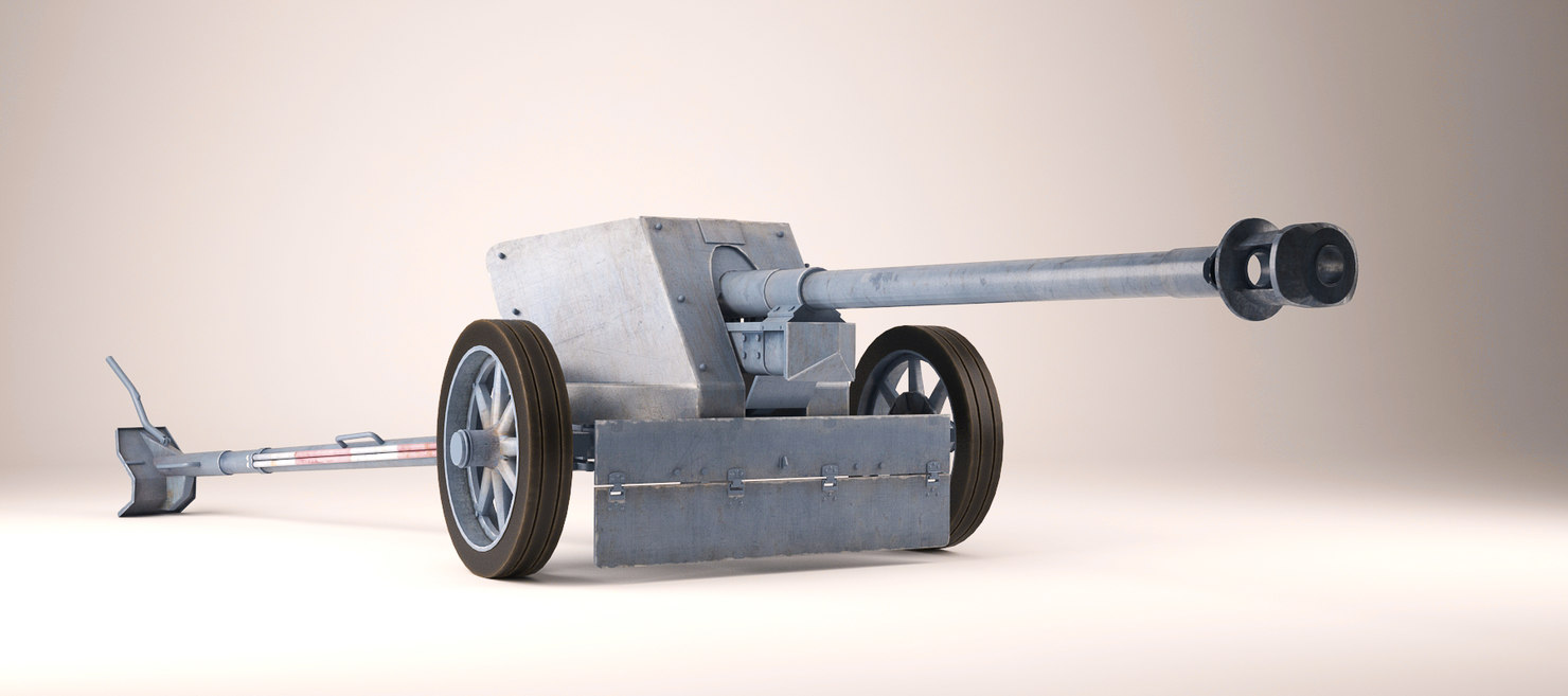 3d model 7 pak 40 gun