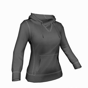 woman hoodie 3d max