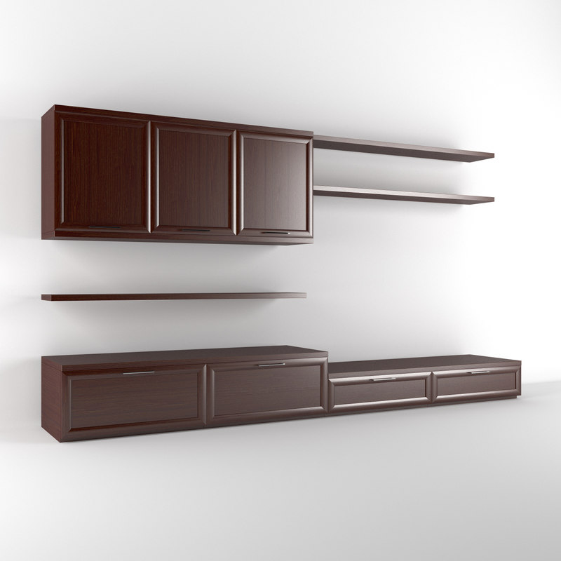 realistic wall unit obj