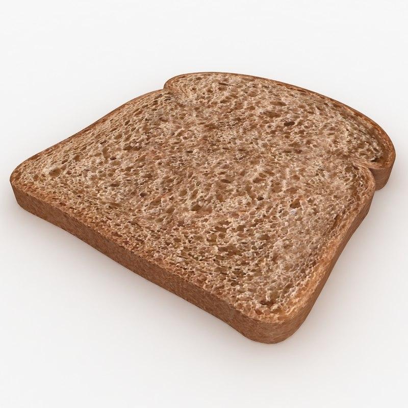 3d bread slice dark model