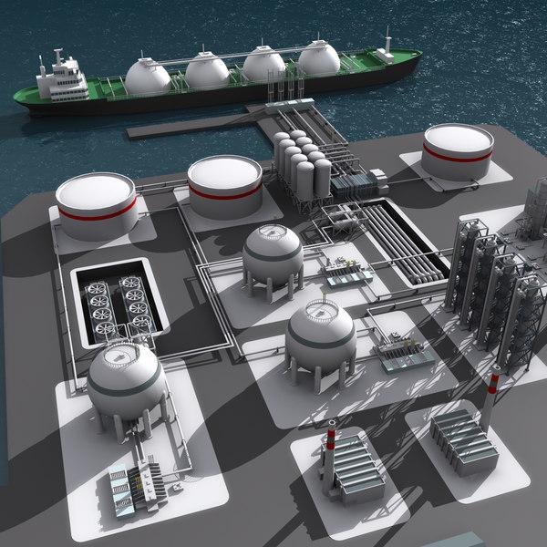 3d lng refinery port model