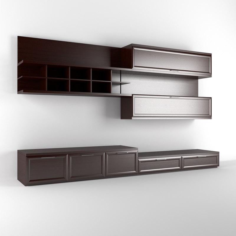 3d realistic wall unit model