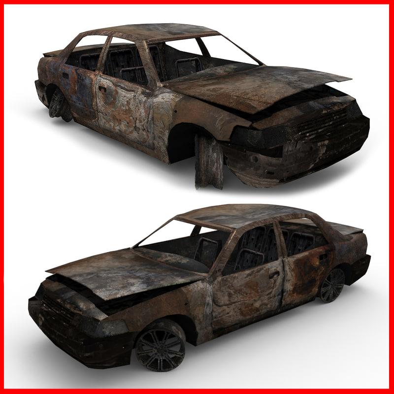 ruined burned car 3d max