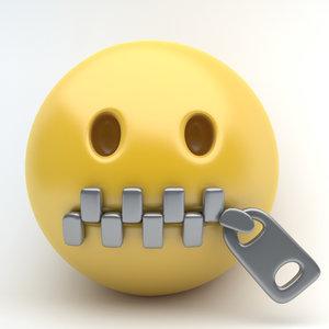 3d emoji close mouth model