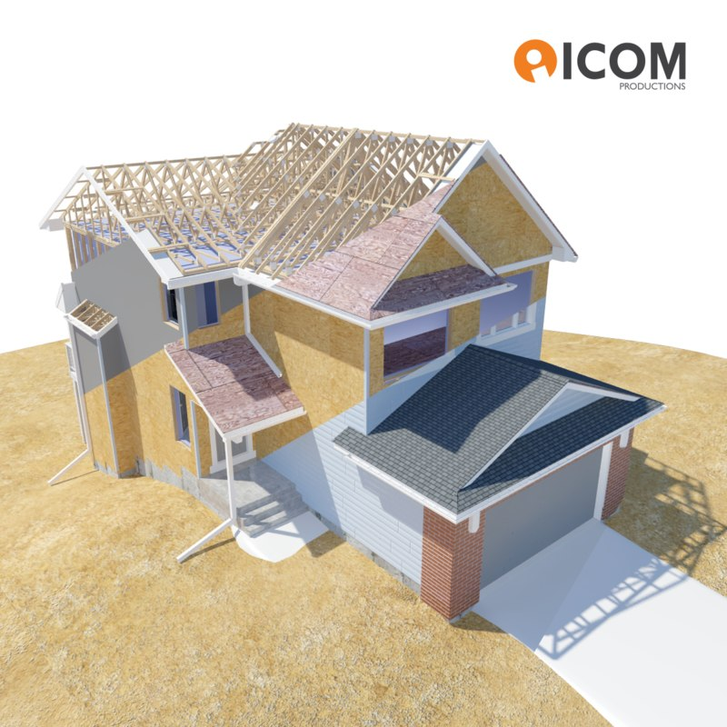 fully residential house 3d max