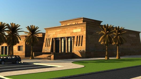 3d model egyptian building landscape