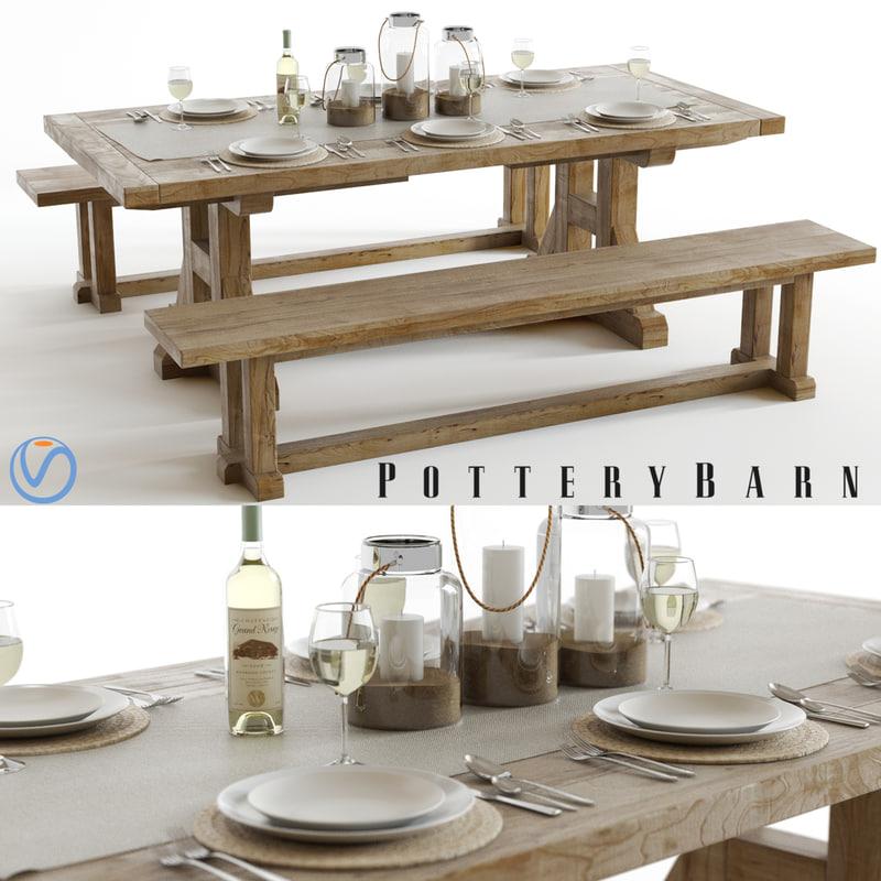 set pottery barn stafford 3d model