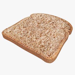 3d model bread slice bright