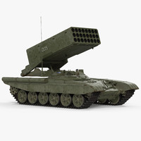 Russian Multiple Rocket Launcher TOS-1A Rigged 3D Model