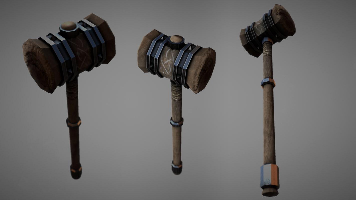 fantasy wooden hammer 3d model