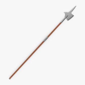 3d model of halberd pole weapon