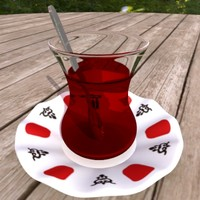3d turkish tea glass model