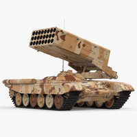Heavy Fire Throwing TOS-1A System Desert Rigged 3D Model