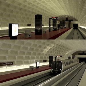subway station metro 3d model