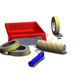 3d roller brush tape tray