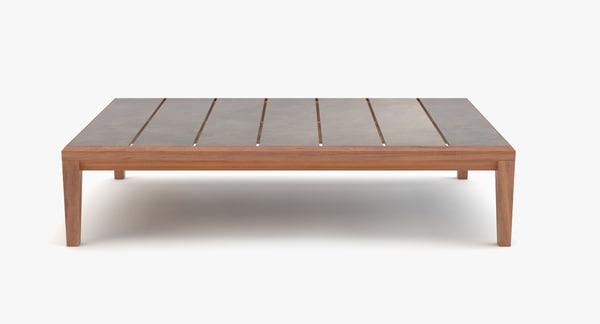 3d model roda teka coffee table
