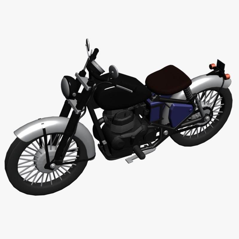enfield motorcycle 3d dwg
