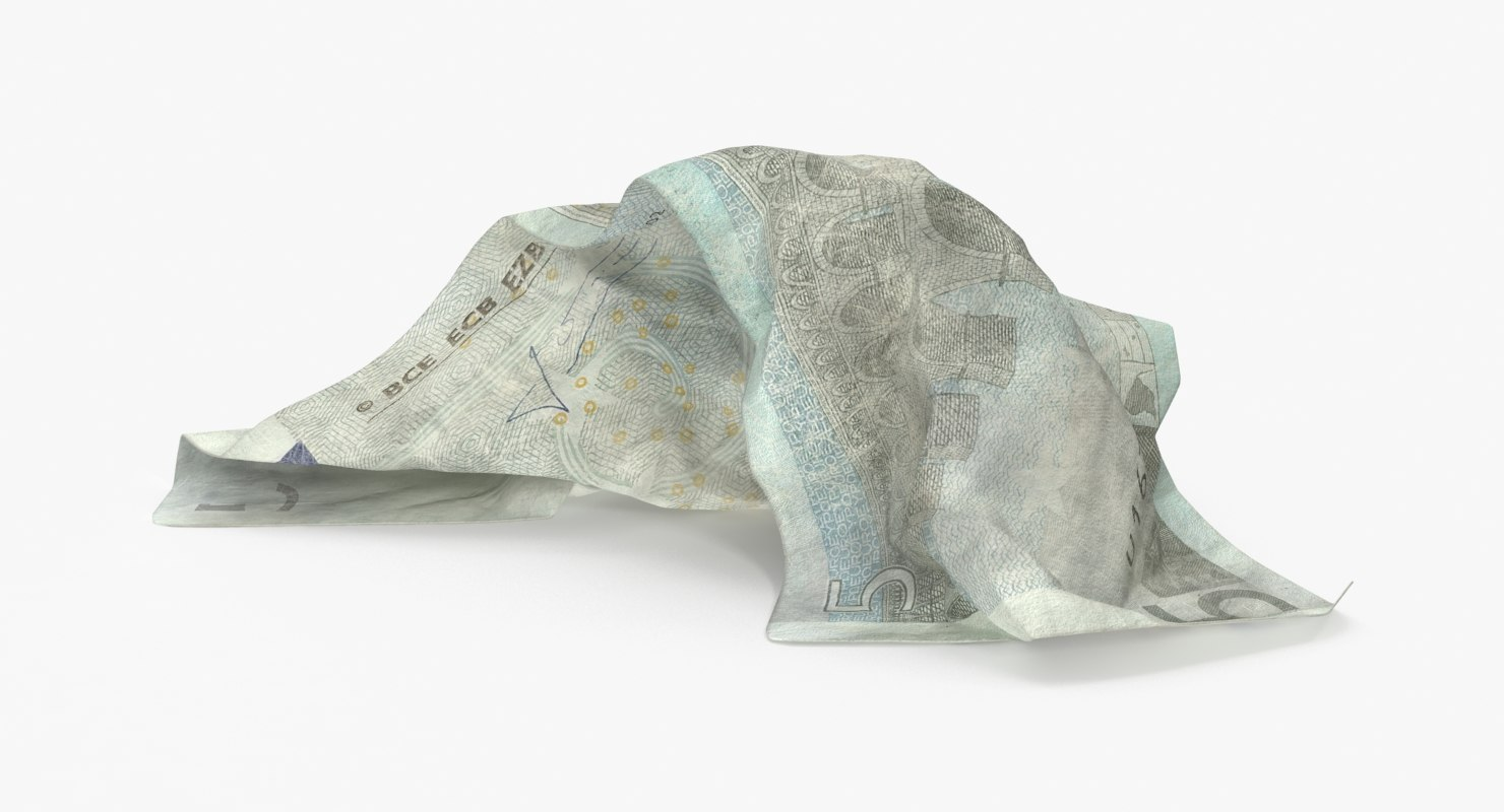 3d 5 euro bill crumpled model