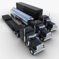 van semi-trailer truck 3d model