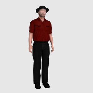 3d rigged character cricket umpire model