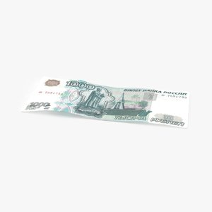3d 1000 ruble note single