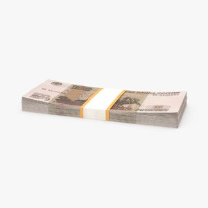 3d model 100 ruble note pack