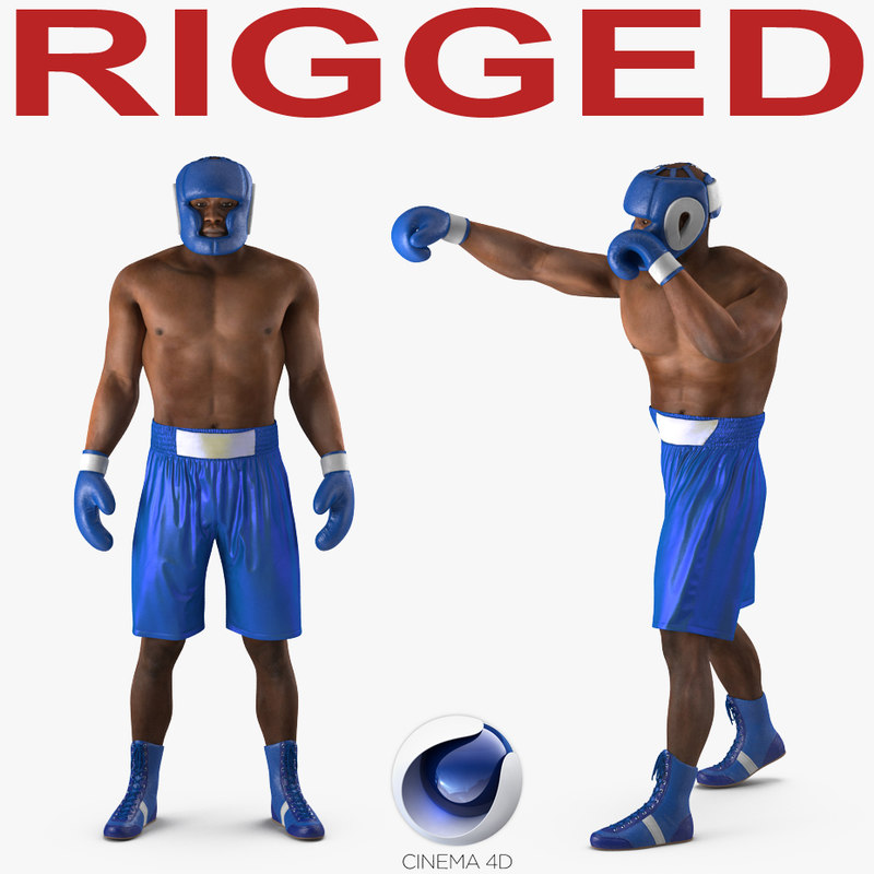 african american boxer rigged 3d model