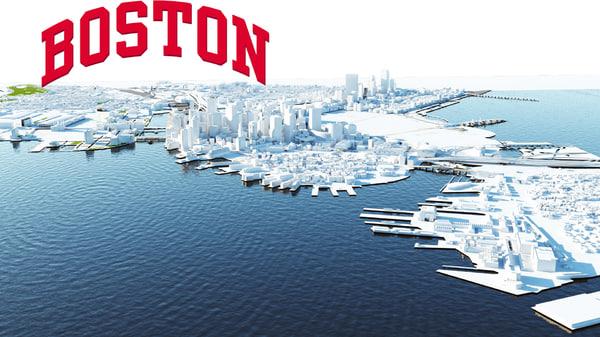 city boston modeled 3d max