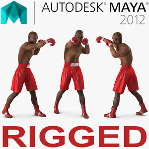 3d african american boxer red