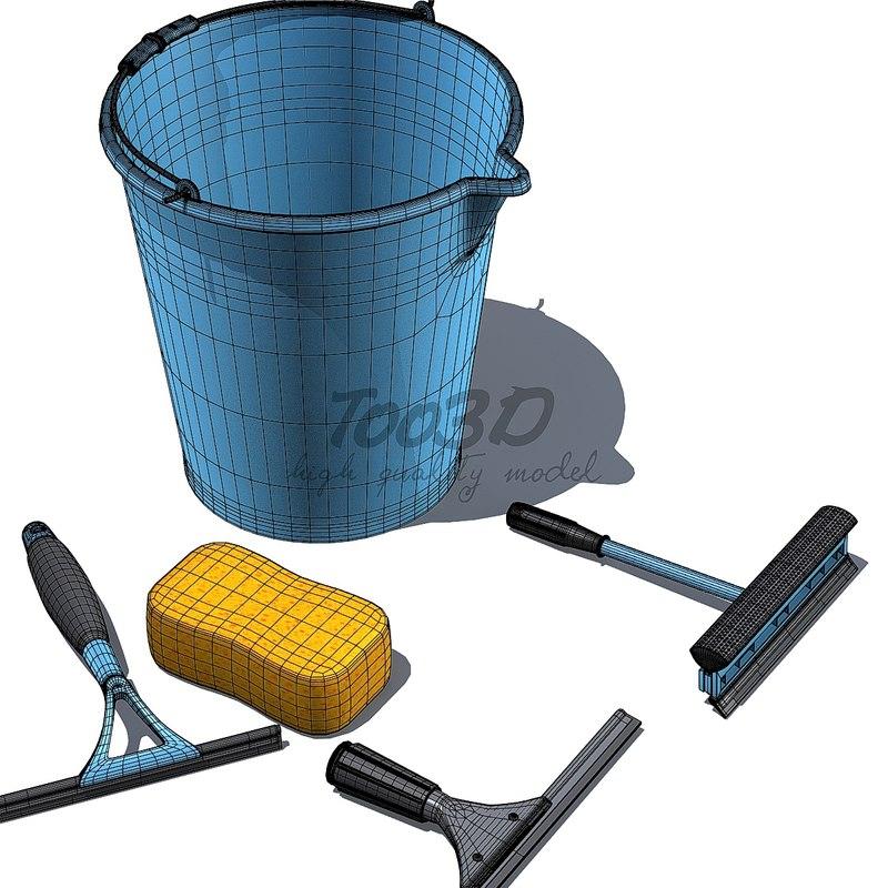3d bucket squeegee sponge model