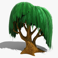 3d model willow cartoon tree