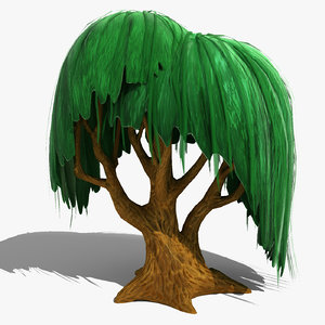 3d model willow cartoon tree