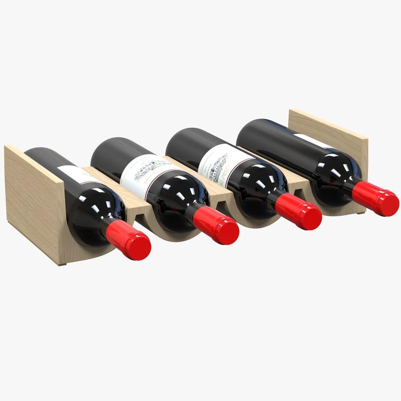 wine rack wood 3d c4d