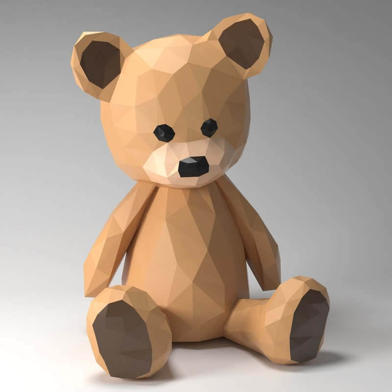 teddy bear style 3d model
