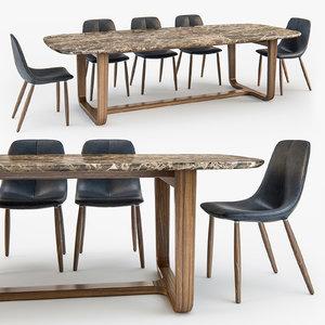 3d bonaldo chair medley table model