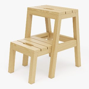 realistic step ladder stool 3d model