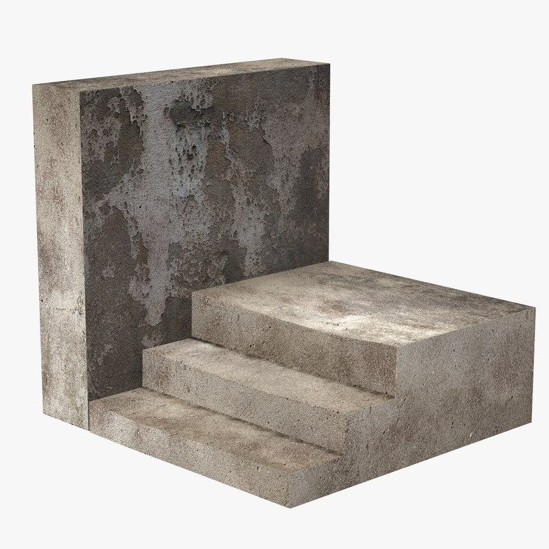stone staircase wall 3d model