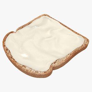 3d bread cheese spread model