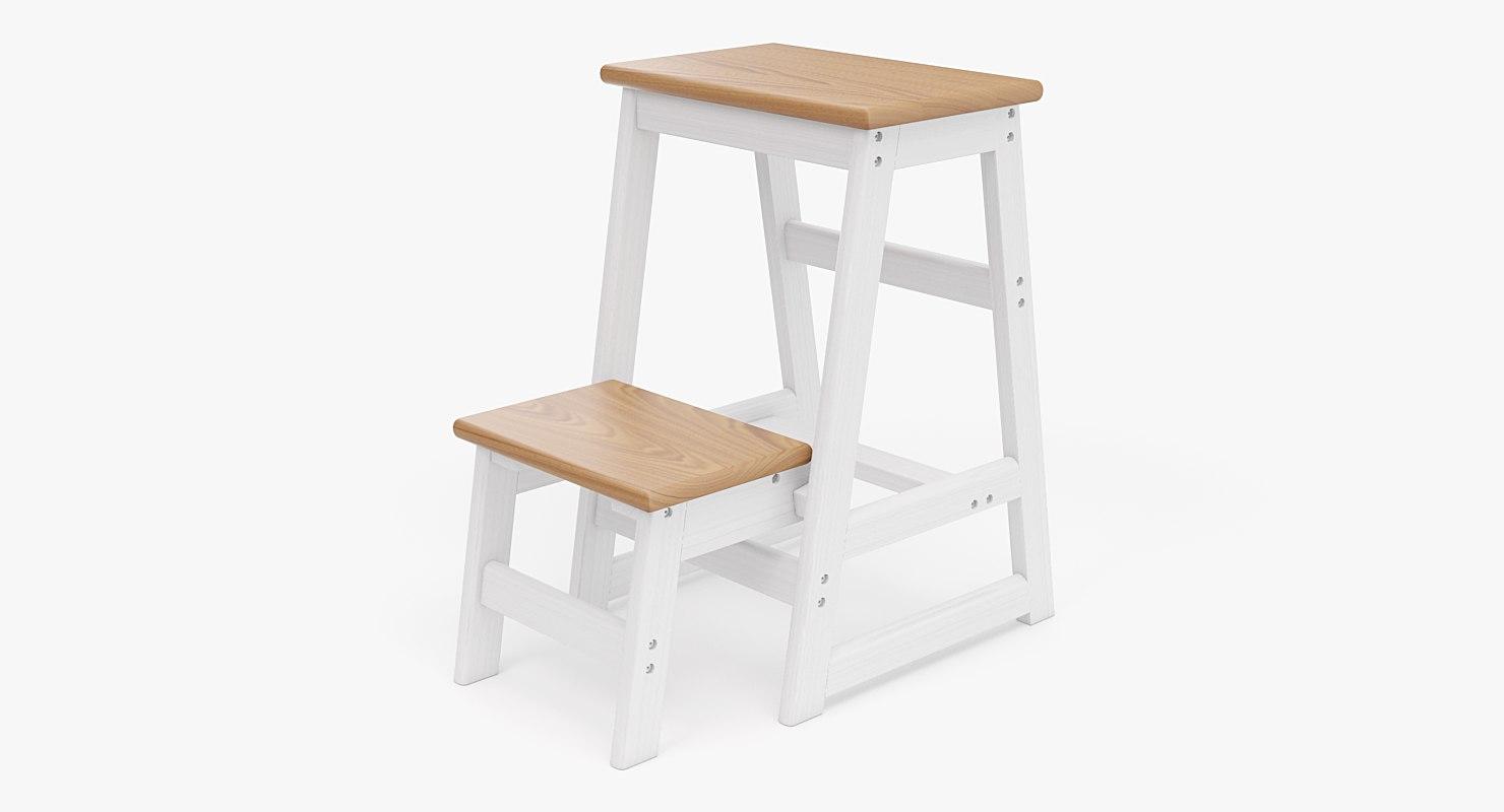 realistic step ladder stool obj