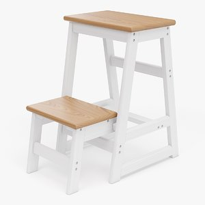 realistic step ladder stool obj