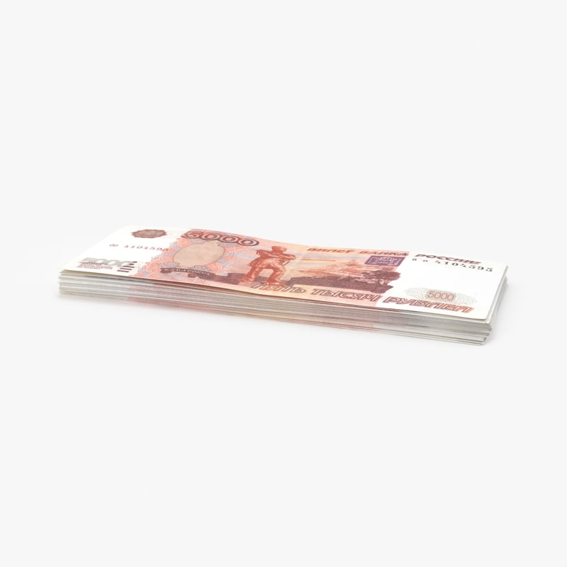 3d 5000 ruble note stack