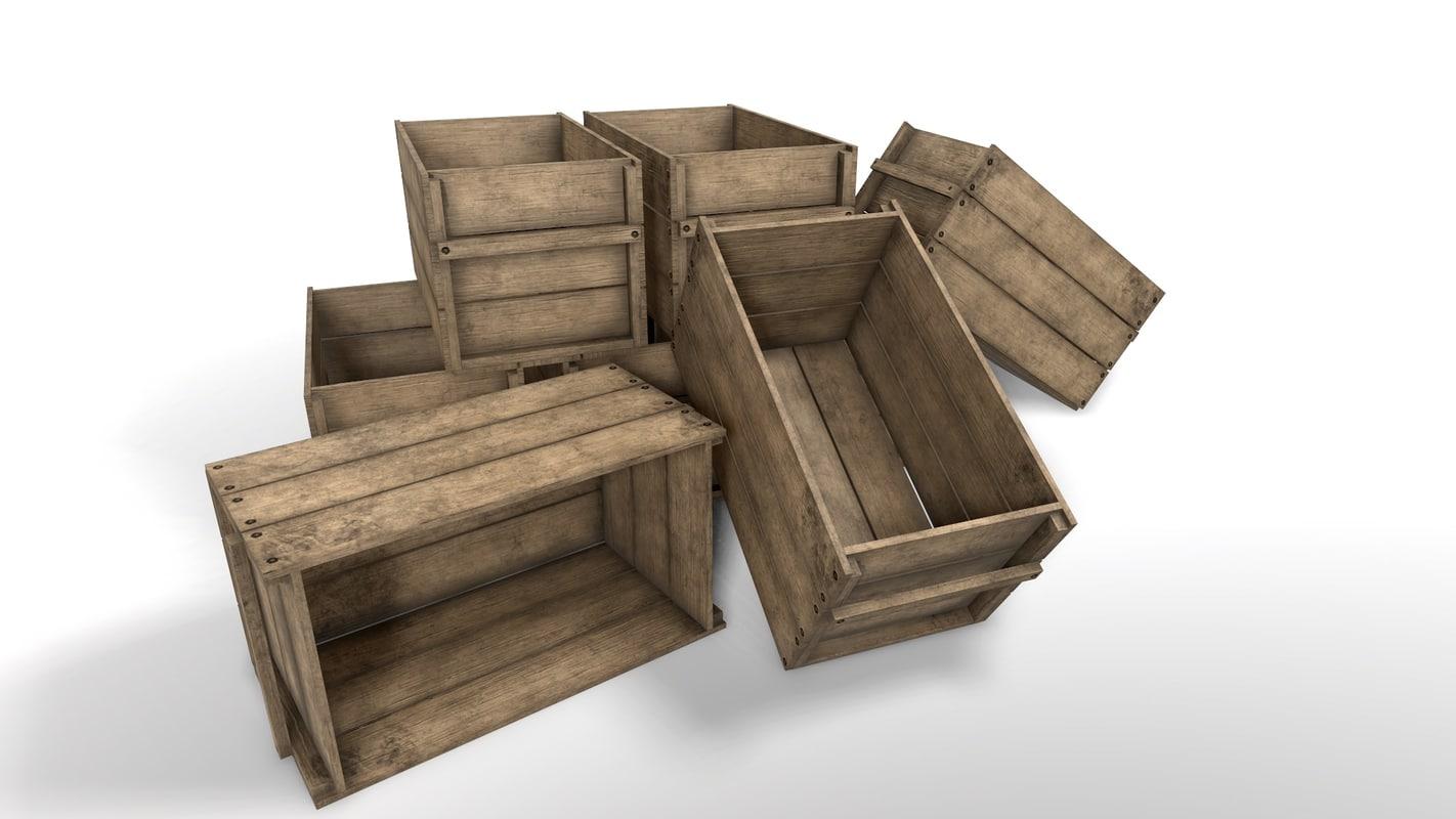 wooden crate wood 3d obj