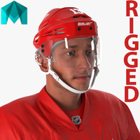 3d hockey player red wings model