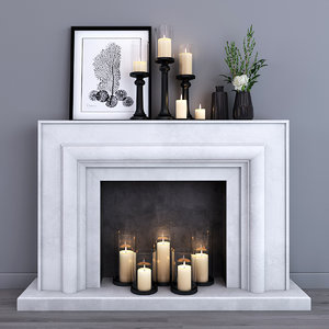 3d decorative fireplace model