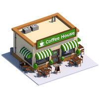 coffee house exterior 3d 3ds