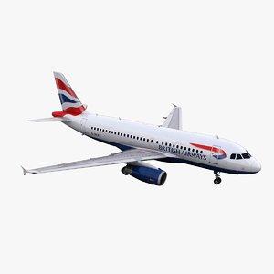 a319 british airways 3d model